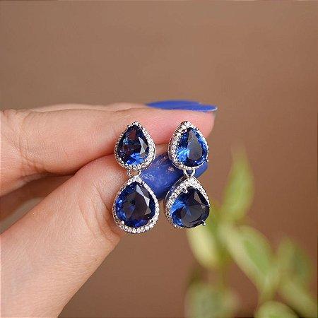 Brinco gota zircônia cristal azul marinho ródio semijoia 19a12101