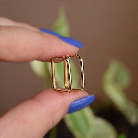 Brinco argolinha quadrada m ouro semijoia