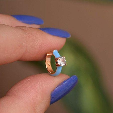 Piercing de encaixe individual esmaltado azul cristal ouro semijoia 21a04012