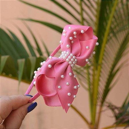 Tiara infantil laço gorgurão rosa com pérolas