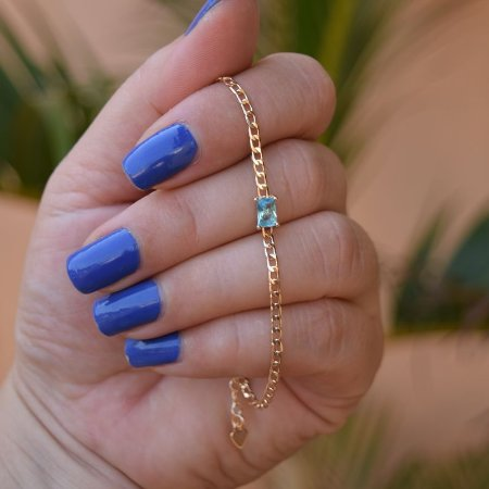 Pulseira corrente zircônia azul ouro semijoia