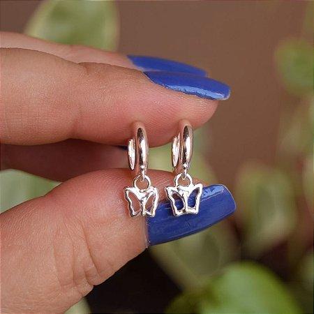 Brinco argolinha penduricalho borboleta prata 925