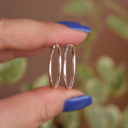 Brinco argolinha lisa g prata 925