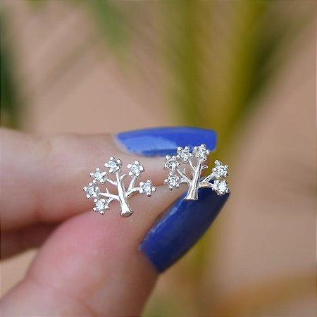 Brinco árvore da vida zircônia prata 925
