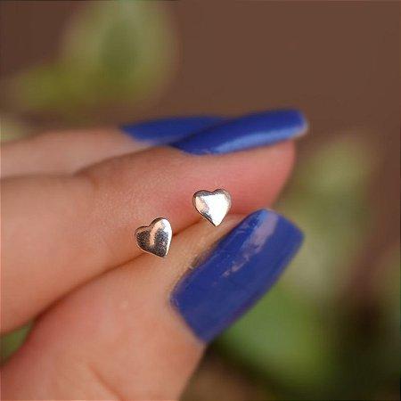 Brinco segundo furo coração prata 925