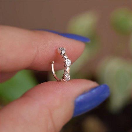 Piercing de encaixe individual coração zircônia prata 925