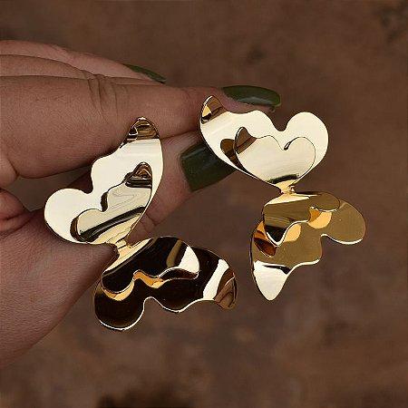 Brinco borboleta dupla dourado