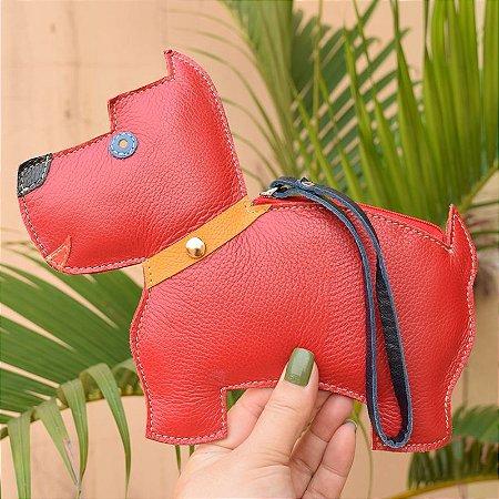 Bolsa de mão couro vermelho cachorrinho infantil