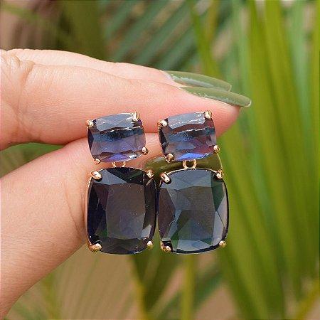 Brinco cristal azul marinho ouro semijoia
