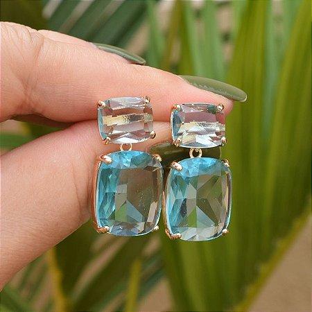 Brinco cristal azul claro ouro semijoia