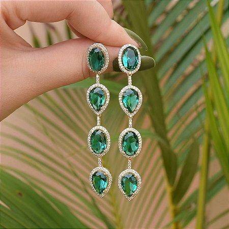 Brinco cristais verde zircônias ouro semijoia