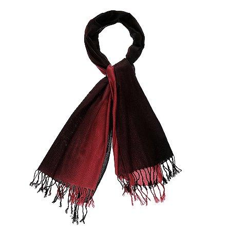 Pashimina viscose bicolor vermelho e preto Pas 003
