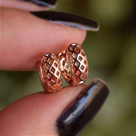 Brinco argolinha segundo furo ouro rosê 19A10033