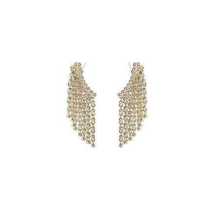 Brinco franja zircônia ouro semijoia 19A12119