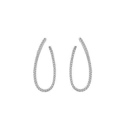 Brinco gota frontal zircônia cristal ródio semijoia 19K07039