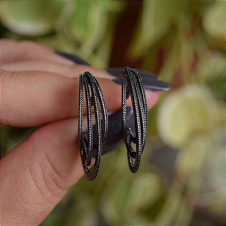 Brinco aros ródio negro semijoia 19A12114