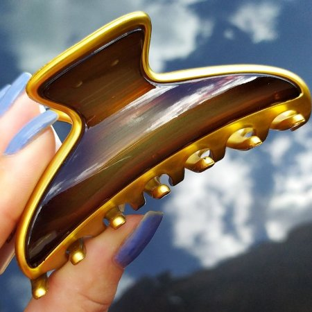 Piranha de cabelo francesa Finestra marrom e dourado F4644GDM