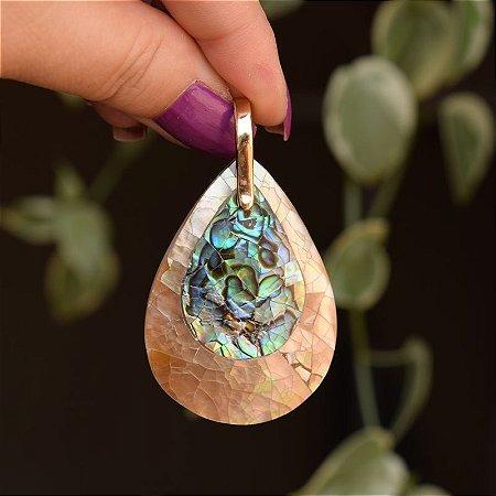 Pingente gota mosaico madrepérola e abalone ouro semijoia