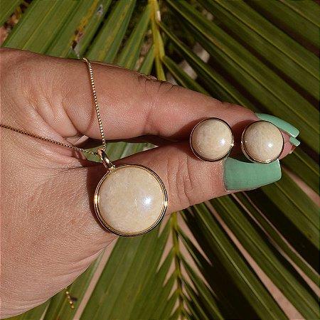 Colar e brinco redondo pedra natural amazonita bege semijoia