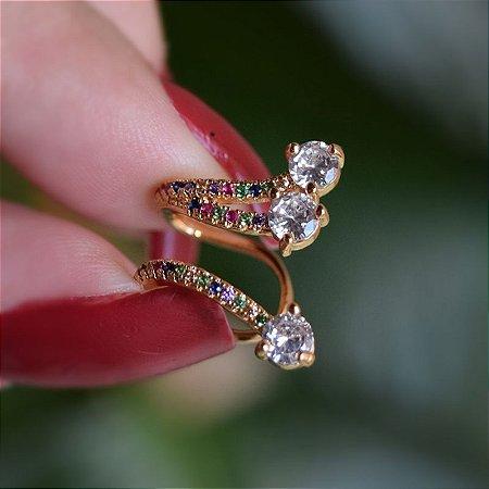 Piercing de encaixe individual zircônias coloridas ouro semijoia