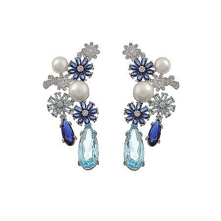 Brinco flor pérola zircônia azul ródio semijoia