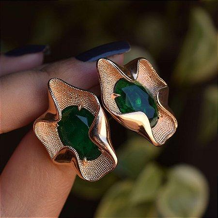 Brinco cristal esmeralda ouro semijoia