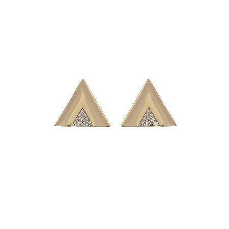 Brinco triângulo zircônia ouro semijoia