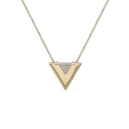 Colar curto triângulo ouro semijoia