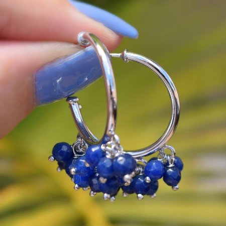 Brinco argola penduricalhos cristal azul ródio semijoia
