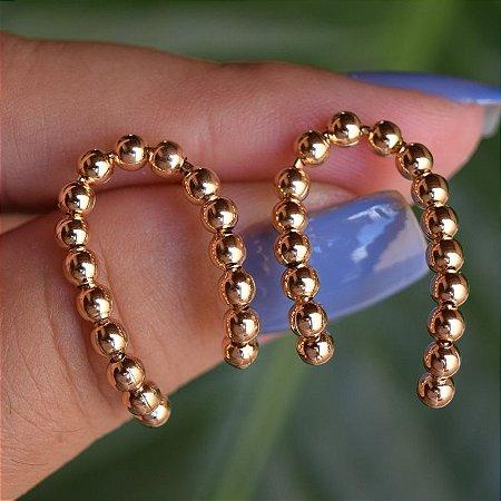 Brinco esferas zircônia ouro semijoia