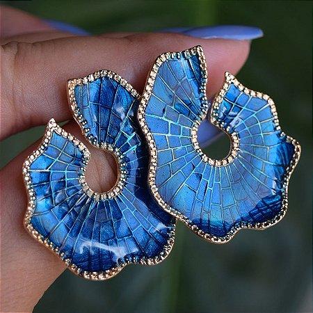Brinco frontal resinado azul ouro semijoia