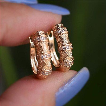 Brinco argolinha zircônia ouro semijoia 19K10028