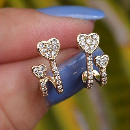 Brinco coração zircônia ouro semijoia 19A09044