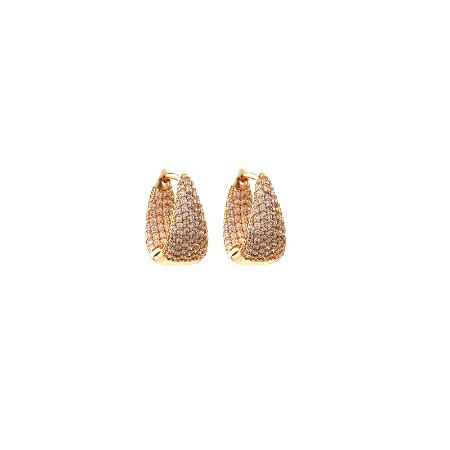 Brinco argola zircônia ouro semijoia 18K15051