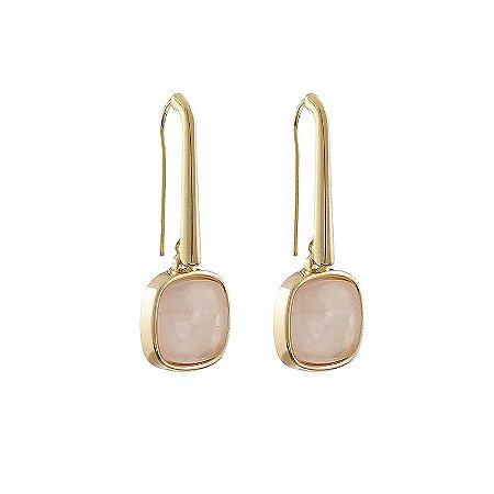 Brinco gancho quadrado pedra natural quartzo rosa ouro semijoia