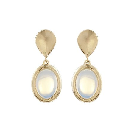 Brinco pressão oval pedra natural opalina ouro semijoia