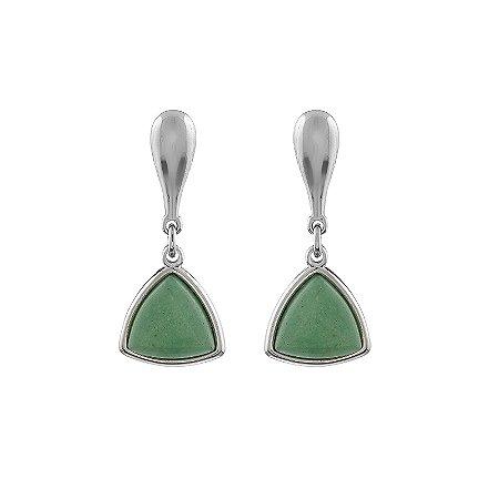 Brinco triangular pedra natural quartzo verde ródio semijoia