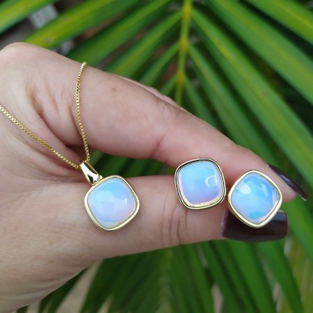 Colar e brinco quadrado pedra natural opalina semijoia
