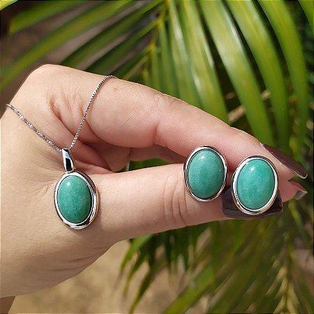 Colar e brinco oval pedra natural quartzo verde ródio semijoia