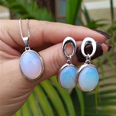 Colar e brinco oval pedra natural opalina ródio semijoia