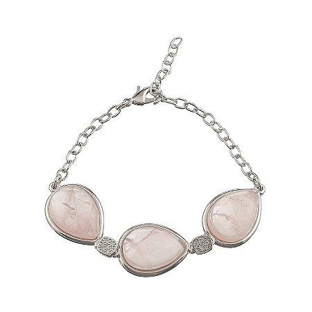 Pulseira pedra natural quartzo rosa gota zircônia ródio semijoia