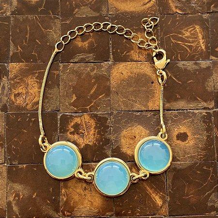 Pulseira pedra natural ágata azul céu redonda ouro semijoia