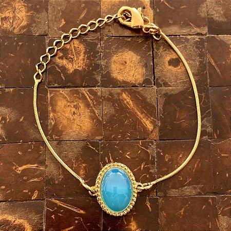 Pulseira pedra natural ágata azul céu ouro semijoia