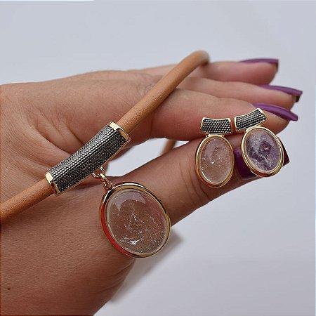 Colar e brinco couro pedra natural cristal ouro semijoia