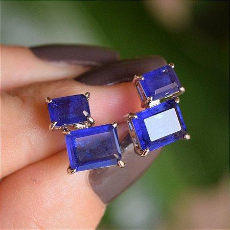 Brinco retangular cristal azul ródio semijoia