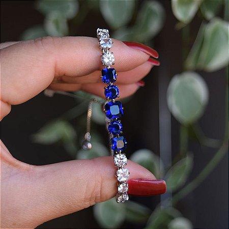Pulseira gravatinha zircônia cristal azul ródio  semijoia