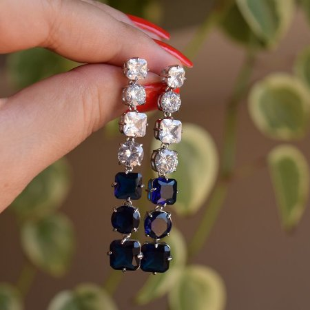 Brinco zircônia cristal azul ródio semijoia