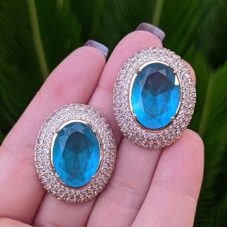 Brinco oval cristal turmalina zircônia ouro semijoia 516010541