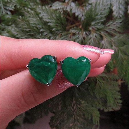 Brinco coração cristal esmeralda ródio semijoia 517010520