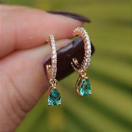 Brinco argolinha zircônia gota esmeralda ouro semijoia 516010463